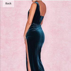 Dresses - Teal/Blue Velvet Goddess Dress/Gown/Maxi